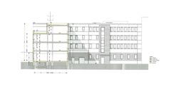 Schnitt Südflügel mit Ansicht Nordflügel Hofseite © 2017 gmw planungsgesellschaft mbH  Stralsund