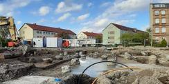 September 2020 - Start der Rohbauarbeiten mit der Gründung: 108 Bohrpfähle wurden gesetzt © 2020 SBL Greifswald