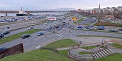 Blick auf den Stadthafen vom Kanonsberg - der Neubau wird die Wasserkante und den Stadthafen maßgeblich prägen. © 2021 SBL Rostock