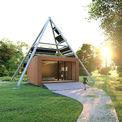 Grafik des Pavillons mit Solarpyramide. © 2021 matrix architektur rostock