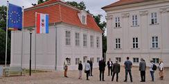 Finanzminister Reinhard Meyer besuchte die Baustelle nach Abschluss der Arbeiten. © 2021 SBL Schwerin