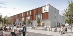So soll der Neubau für die MVU auf dem Campus der Hochschule aussehen. Die Planungen wurden am 12. Juli 2021 in Wismar vorgestellt. © 2021 MHB ARCHITEKTEN + INGENIEURE GmbH