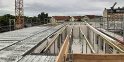Bautenstand Ende Juni 2021 - der Rohbau bis zum 2. Obergeschoss steht  die Decke wird fertiggestellt © 2021 SBL Greifswald